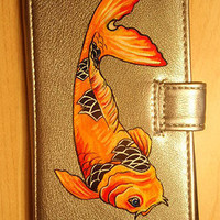 Hand Painted Brilliant Koi Silver Vegan Wallet Purse by Mammalia