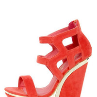Privileged Zali Orange Strappy Sculptural Platform Wedges