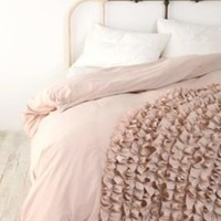 UrbanOutfitters.com &gt; Corner Bloom Ruffle Duvet Cover