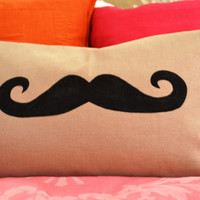 Handlebar Mustache Pillow Cover Moustache by bluebellsandbunting