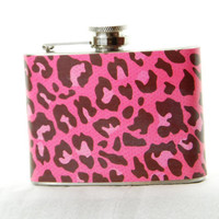 4oz Stainless Steel Hip Flask with pink leopard print wrap
