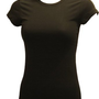 Amazon.com: Ladies Black Plain Sport T-Shirt Round Neck Cap Sleeves, Cotton Spandex: Clothing