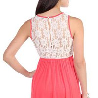 lace illusion back straight hem day dress - debshops.com