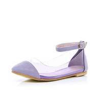 Girls purple perspex ankle strap shoes