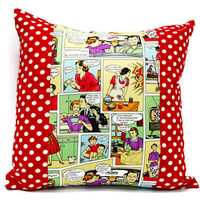 Decorative Pillow cover in comic strip - 18x18inch throw pillow , envelope closure, valentine gift