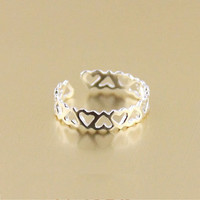 Super hollow heart-shaped tail ring sterling silver rings