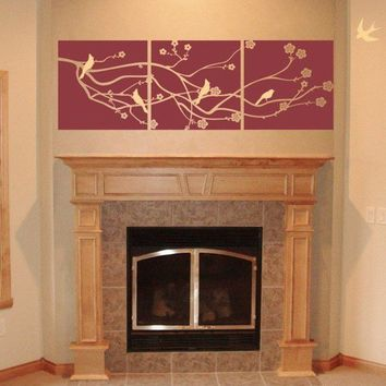 Vinyl Wall Decal Cherry Blossom Branch with 5 Birds LARGE 3 Panel Design