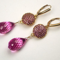 Pink Topaz Pave Earrings Gold Vermeil by TownCountryJewelry