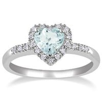 Sterling Silver Aquamarine and Diamond Heart Ring (0.1 cttw, G-H Color, I2-I3 Clarity)