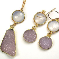 Lavender Druzy Necklace Earrings Set by TownCountryJewelry