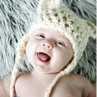 Bear Hat  Baby Hat Animal Hat  Ear Flap Hat by Monarchdancer