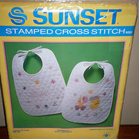 "MIP Sunset Stamped Cross Stitch Chicks at Play Bib Set #8003 10"" x 14"" each L@@K"