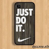 IPHONE 5 CASE NIKE Just do it darkwood Wooden backgroud  iPhone 4 case iPhone 4S case iPhone case Hard Plastic Case Soft Rubber Case