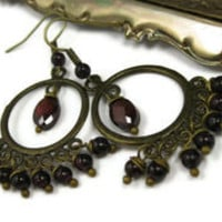 Garnet Chandelier Earrings - leafandtendril.com