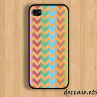 IPHONE 5 CASE - multi color bar chevron - iPhone 4 case,iPhone 4S case,iPhone caseHard Plastic Case Rubber Case