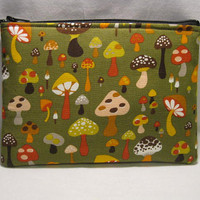 Zipper Pouch Mushrooms by CindyKsBoutique on Etsy