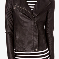 Faux Leather &amp; Knit Moto Jacket