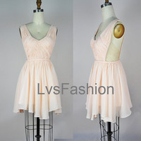 Straps V-neck Sexy Chiffon Party Dresses Cocktail Dresses Prom Dresses, Sexy Dress, Wedding Party Dresses