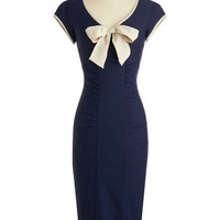 Stop Staring! Sheath a Lady Dress in Navy | Mod Retro Vintage Dresses | ModCloth.com
