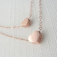 Rose Gold Double Strand Heart Necklace
