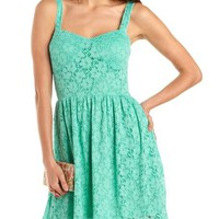 Floral Lace A-Line Dress: Charlotte Russe