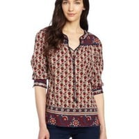 Amazon.com: Lucky Brand Women's Betton Indian Gate Border Peasant Top: Clothing