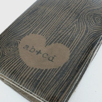 small leather journal sketchbook woodgrain custom initials