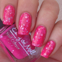 "Nail polish - ""Girls Best Friend"" silver holographic glitter in a bright pink base - new 12 ml bottle"