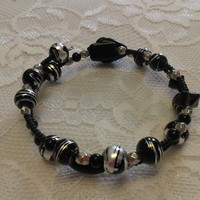 Black and Silver Glass Bead Memory-Wire Bracelet