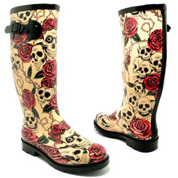 Spy Love Buy GLASTO Flat Festival Wellies Wellington Calf Rain Boots