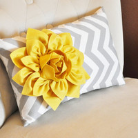 Chevron Lumbar Pillow Mellow Yellow Dahlia on Gray and by bedbuggs