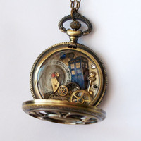 Doctor Who Pocket Watch Necklace Approaching by TimeMachineJewelry