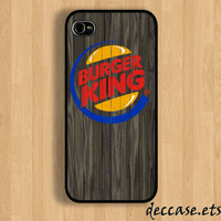 IPHONE 5 CASE Berger King logo colored on dark wood iPhone 4 case iPhone 4S case iPhone case Hard Plastic Case Soft Rubber Case
