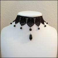 Gothic black lace choker with glass beads by Arthlin on Etsy