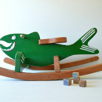 vintage hand-painted wooden rocking fish - rocking horse - riding toy