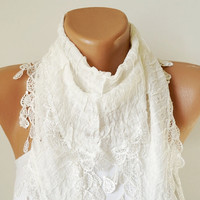 White Scarf. Lace Scarf. Woman Scarf. Fashion Scarf. Drop Lace