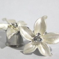 "Unique Cream Flower Crystal Plugs 0 00 Gauge 7/16"" 8mm 10mm 11mm 0G 00G"