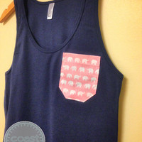 Navy and Pink Elephant Pocket Tank
