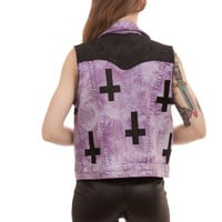 Lavender and Black Inverted Cross Vest