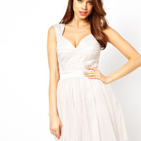 Lipsy Prom Dress with Pearl Embellished Shoulders