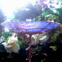 Garden BIRDBATH Iridescent Purple Lavender by GloriasGlassGarden