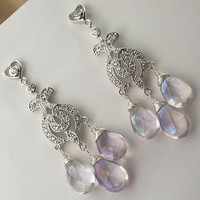 Lavender Wedding Chandelier Earrings Mystic by TownCountryJewelry