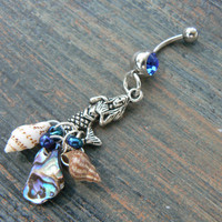 mermaid siren belly ring mermaid blue abalone seashells in beach boho gypsy hippie belly dancer  beach hipster and fantasy style