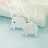 White elephants earrings by joojooland on Etsy
