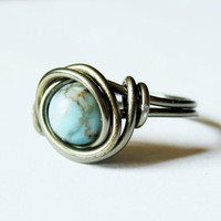 Turquoise And Gunmetal Ring Custom Size