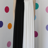 Handmade Black and white long maxi chiffon dress/ prom dress / party dress / evening dress / cocktail dress &quot;Dream about me&quot;