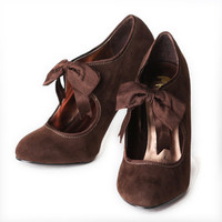 be mine brown bowtie suede pumps