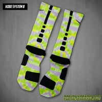 Kobe System 8 - Volt Custom Nike Elite Socks | Rock 'Em Apparel