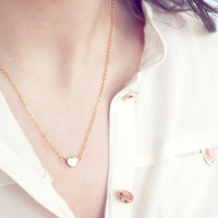 tiny gold heart necklace - delicate necklace -  dainty jewelry / gift for her under 20usd
