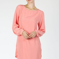 Solid Shift Dress in Sherbert- ShopSosie.com